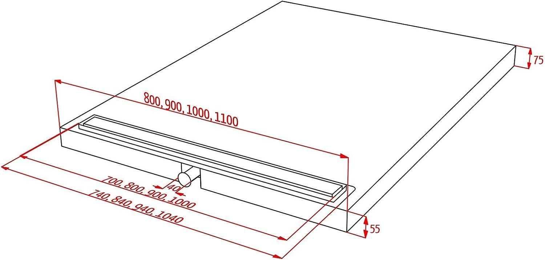 Duschelement 80X120 cm mit Rinne Ablauf waagerecht Rinne geschlossen Duschboard Duschtasse bodeneben