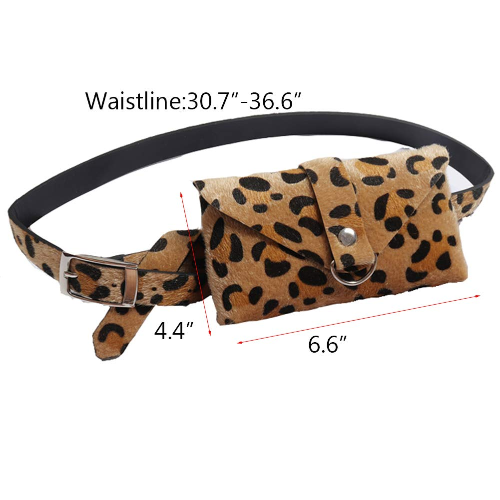 Small Leopard Leather Waist Fanny Belt Pack Bag Phone Purse With Street Style For Women Girls Fashion by GECHENG (Image #6)