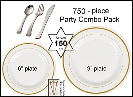 750 Pieces Plastic China Plate Silverware Combo for 150 people BONE with GOLD Reflection Masterpiece Like  sc 1 st  Amazon.com & Amazon.com: 750 Pieces Plastic China Plate Silverware Combo for 150 ...