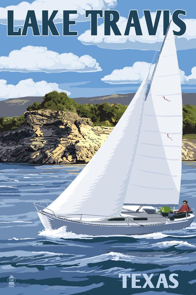 Austin, Texas - Lake Travis Sailing Scene (24x36 Giclee Gallery Print, Wall Decor Travel Poster) by Lantern Press