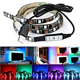 Image of Deep Dream LED Strip TV Backlight Bias Lighting 4.9ft 5050 45Leds 5V USB Powered Mini Controller for HDTV, Flat Screen TV Accessories and Desktop PC, Multi Color