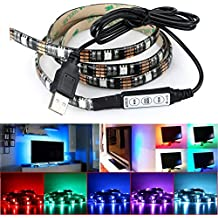DeepDream LED Strip Lights TV Backlight 4.9ft 5050 45Leds 5V USB Powered Mini Controller for HDTV, Flat Screen TV Accessories and Desktop PC, Multi Color