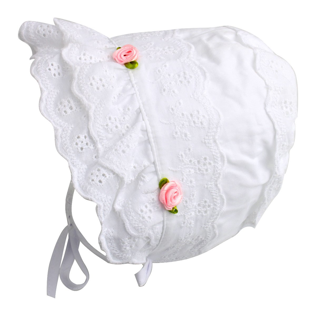 Slowera Cap Baby Girls 100% Cotton Double Brimmed Eyelet Lace Bonnet with Flowers (0-3 Months, White)