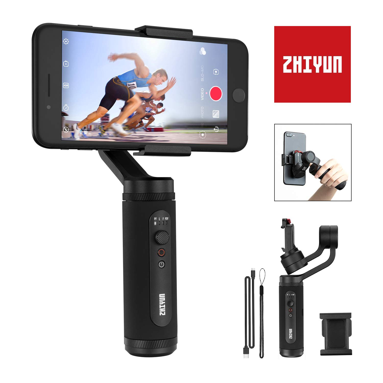 Zhiyun Smooth-Q2 (Official Dealer) 3-axis Smartphones Gimbal Stabilizer, Vortex/POV Mode, 260g Payload, Zhiyun-Smooth-Q2-phone-gimbal-stabilizer by zhi yun