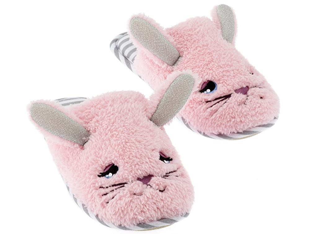 Size 11//12 PJ Couture Little Girls Plush Critters Scuff Slippers