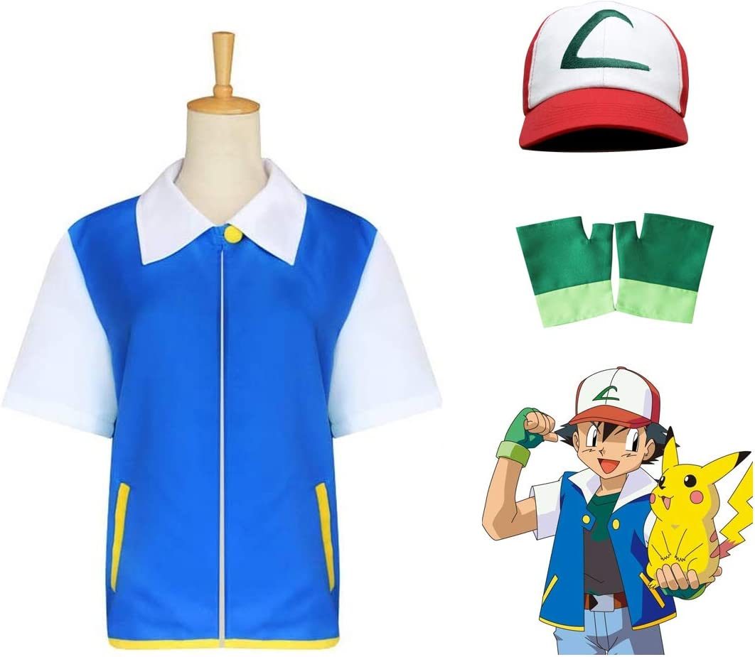 OPM Traje de Cosplay para niños y Adultos, Pokemon Ash Unisex Traje Set, para Fiesta de Halloween Cosplay Niños 140