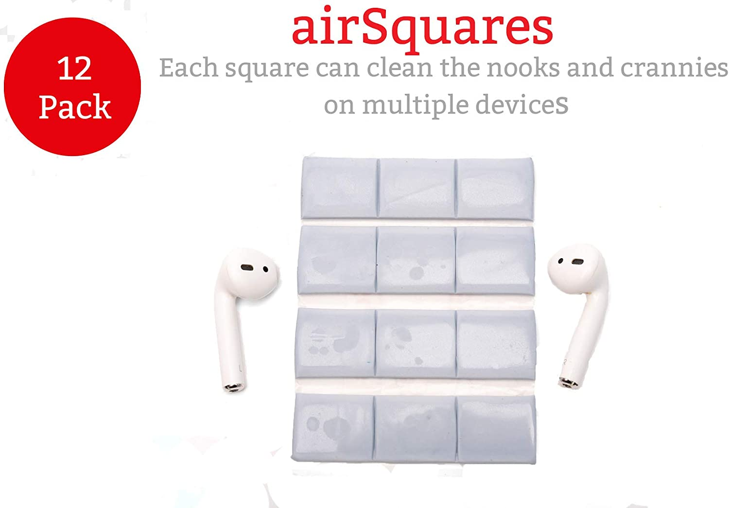 AirSquares Gunk Remover for AirPods and Other Electronic Devices Compatible with Apple AirPods//Earphones//Earbuds//Ear Gets rid of Ear Wax and Other goo in Any Device with Small crevices 12 Pack