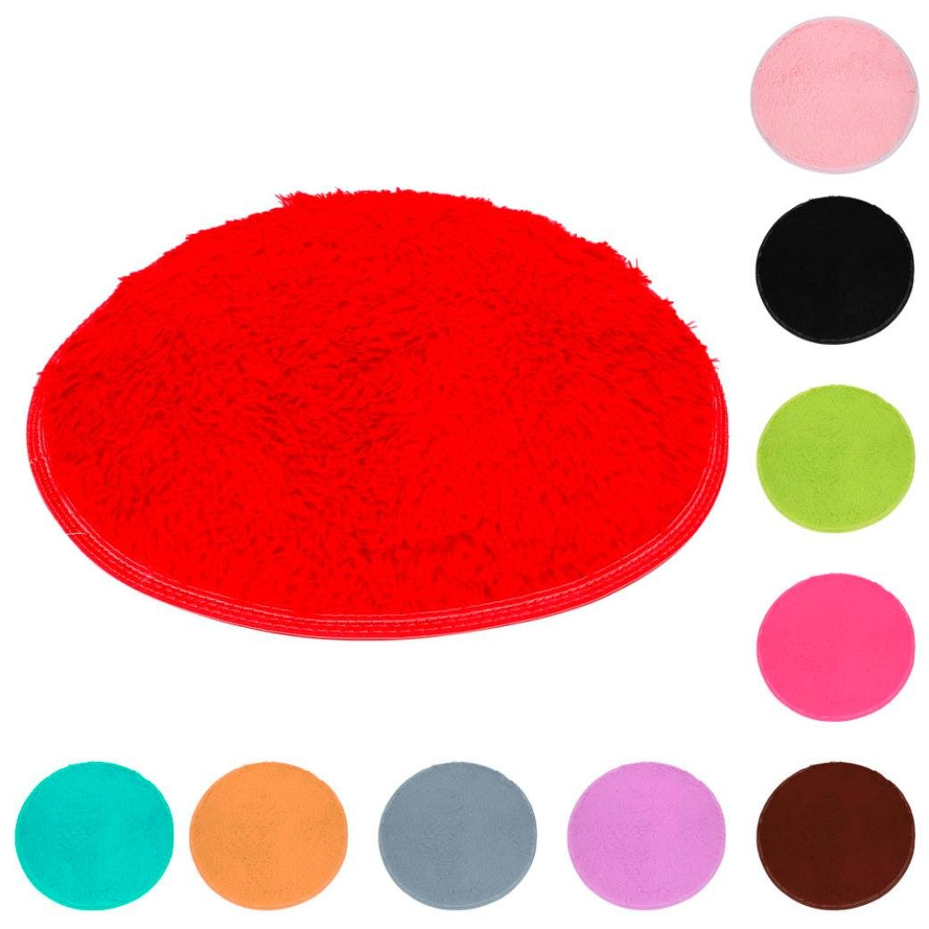 2017 HomeMong New Soft Bath Bedroom Floor Shower Round Mat Rug Non-slip (Red)
