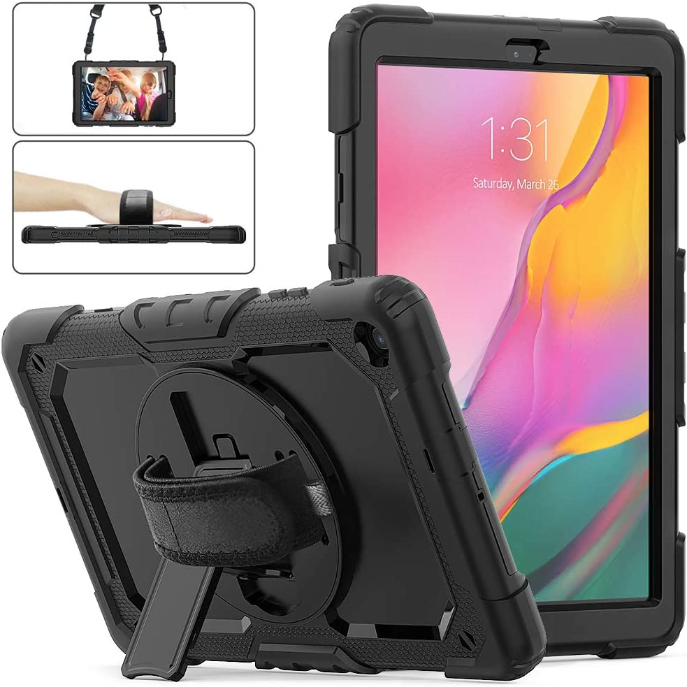 Samsung Galaxy Tab A 10.1 Case 2019, Herize SM-T510/T515 Shockproof Rugged Protective Case Cover with Built-in Screen Protector, 360 Stand,Hand Strap& Shoulder Strap for Galaxy Tab A 10.1 Inch-Black