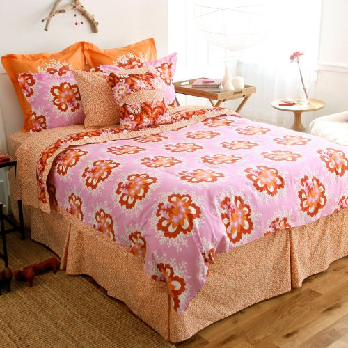 Amy Butler Caracas Duvet Cover in Full/Queen (Orange and Pink)