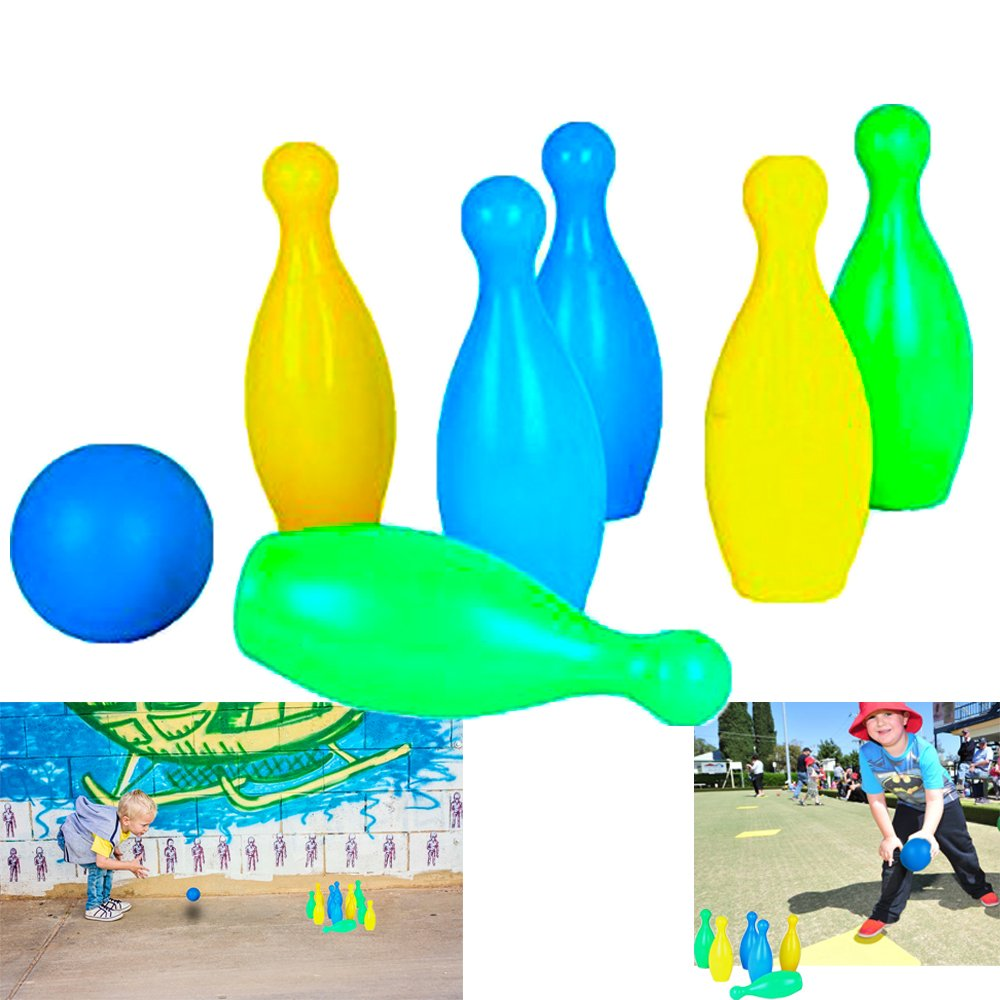 Dazzling Toys Kids Plastic Bowling Set Party Toys - 6 Pins and One Ball Comes in Nice and Bright Colors
