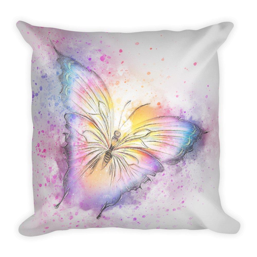 Farfalle colorate arte cuscino 45x 45cm, a forma di animale federa per cuscino, cuscino, regalo, Smart Phone, Cuscino, divano, morbido, soffice, grande, 45x 45cm Purefire Designs