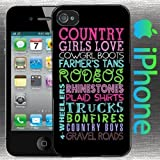 ALWAYS WILL US SELLER A Country Girls Love Iphone 5 / 5s Case Hard Shell Cover Cowgirl Boots Farmers Tan Rodeos Rhinestones Plaid Shirts Trucks Bonfires Country Boys Gravel Roads 4 Wheelers