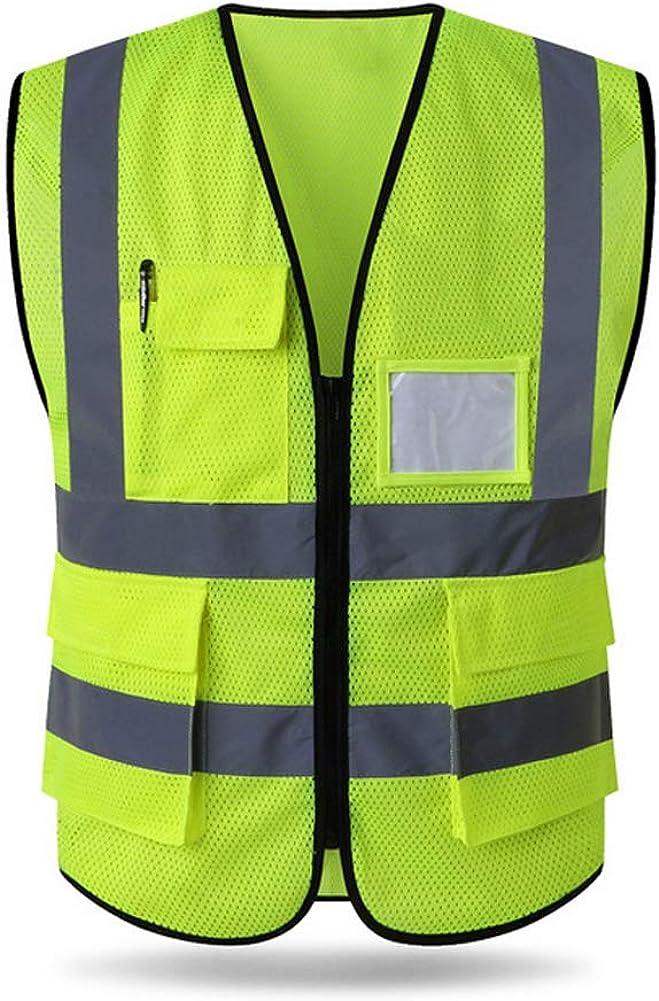 Hycoprot Sicherheitswesten Warnweste Hohe Sichtbarkeit Reflektierendes Mesh Weste Executive Manager Workwear Jacke Zip 2 Band Brace Sicherheit Handytasche Ausweishalter Bekleidung