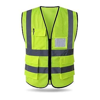 HYCOPROT Chaleco de seguridad Reflectante Malla Alta visibilidad Ropa de trabajo Gerente ejecutivo Chaqueta de chaleco Cremallera Brace Seguridad Tel/éfono m/óvil Titular de ID de bolsillo 4XL