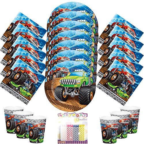 Monster Truck Rally Party Supplies Pack Serves 16 Dessert Plates Beverage Napkins and Cups with Birthday Candles - Monster Truck Birthday Supplies (Bundle for 16) ()