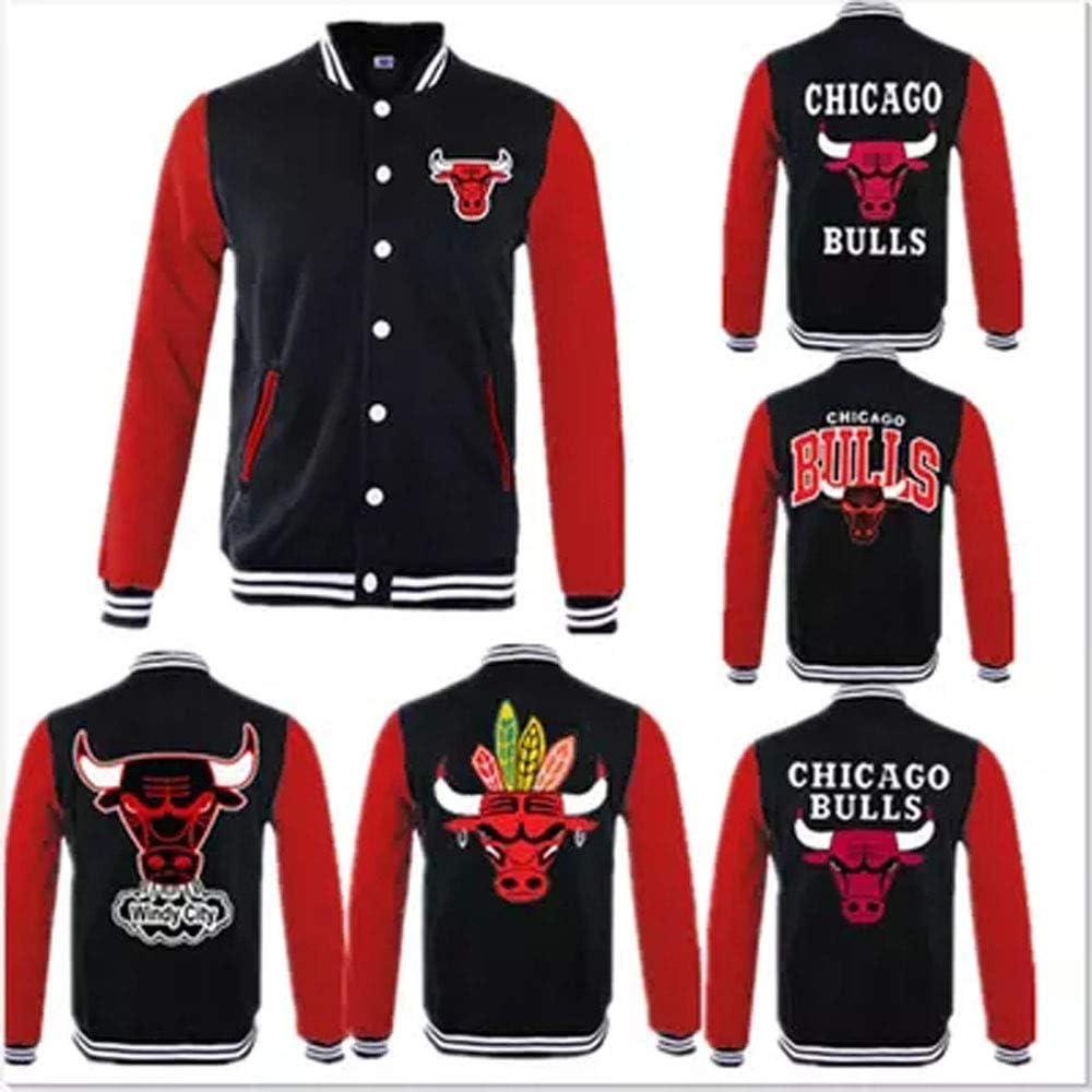 HEJX Abbigliamento da Baseball Amanti di Uomini e Donne Giacca da Baseball di Chicago Bulls Giacca Manica Lunga Giacca Addensare 2