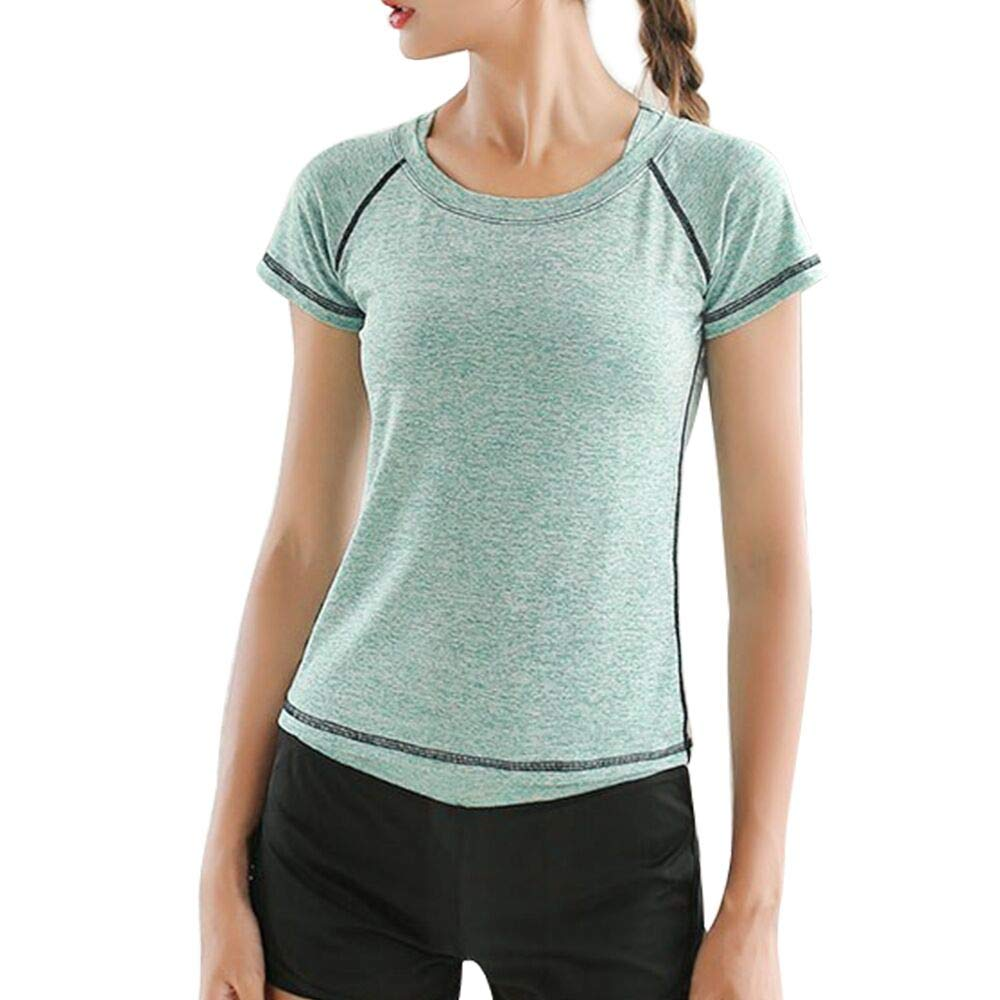 Green Shirt Small La Dearchuu Running TShirts for Women Yoga Short Sleeves Fitness tees Sports Crew Neck Quick Dry US Size 28