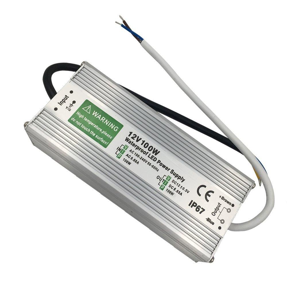 Transformateur d'entrée 230 V c.c. 12 V 100 W 8,3 A. Étanche IP67 LED alimentation Driver Adaptateur en aluminium extérieur DC (IP67 100 W)