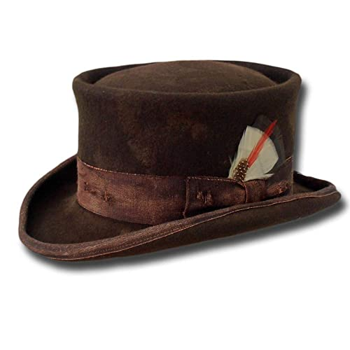 b780b2feb52992 Amazon.com: Western Desert Rat Aged Top Hat Brown: Handmade