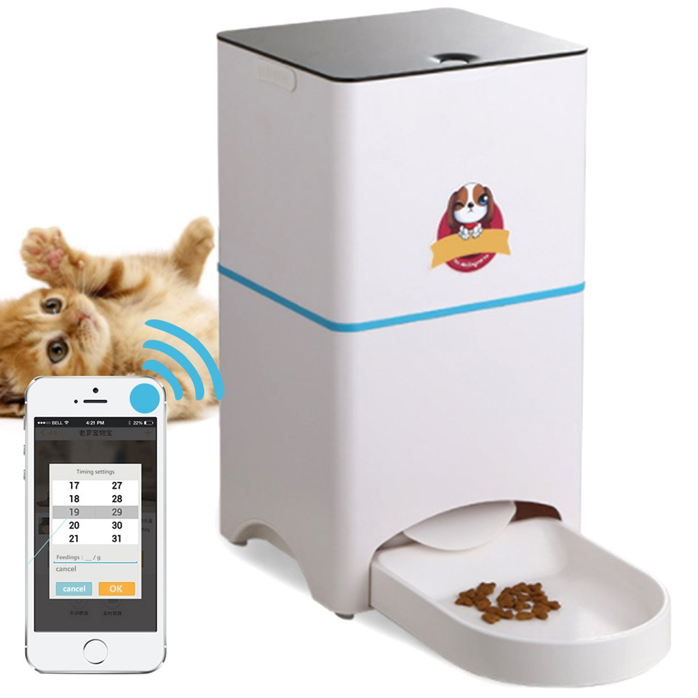 Smart Pet Feeder, Automatic Pet Feeder for Gogs or Cats Controlled by Iphone or Android Mobile Phone APP Remote Intelligent, Pet Feeder Timer