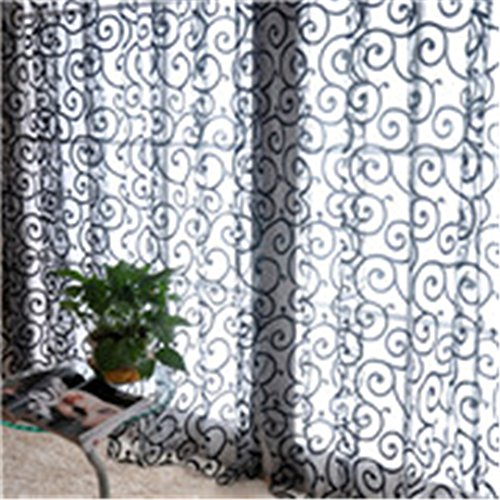 MLZ Curtain Fashion Floral Tulle Voile Door Window Curtains Drape Panel Sheer Scarf Valances Black 2M length 1M width (Blinds 1 Window 2 Circle)