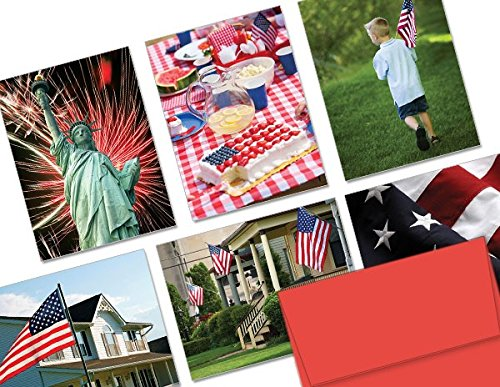 Patriotism - 36 Note Cards - 6 Designs - Blank Cards - Red Envelopes Included
