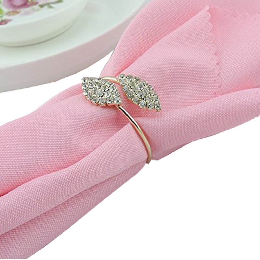 Amazon.com: Elinq Set of 6 Rhinestone Napkin Rings Leaf Shape for ...