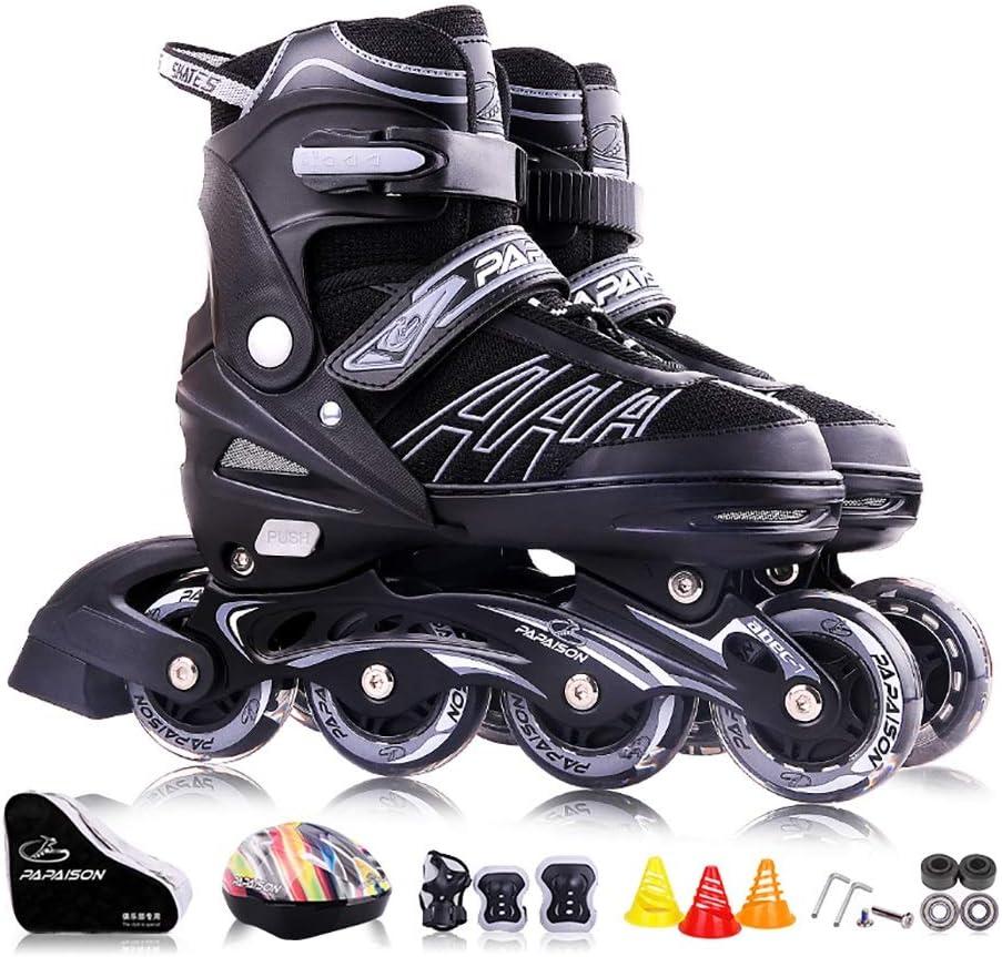 大人のインラインローラースケート、ボーイガールアジャスタブルローラーブレード、ブラックフラッシュスケート靴(青、赤、黄色) (Color : 黒, Size : S(32-36EU)) 黒 S(32-36EU)