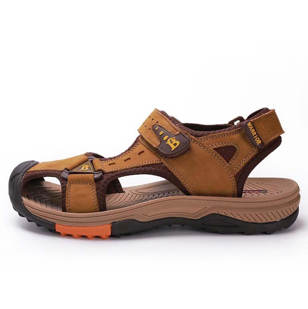 Sandalias de los Hombres Al Aire Libre Baotou Sandalias Respirables de Cuero Ocasionales Zapatos de Playa de Cuero de la Primera Capa del Verano 41 EU|Amarillo