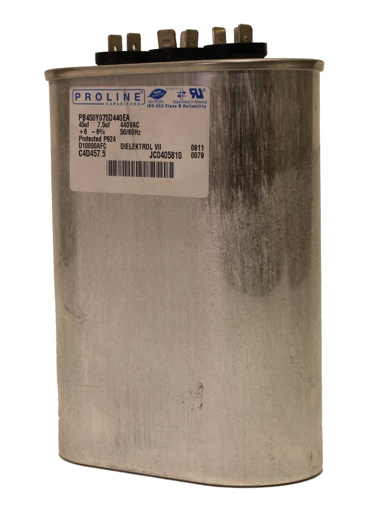 Fasco C4D457.5 Proline 45 Mfd//7.5 Mfd 440-volt Dual Microfarad Capacitor with 2-Inch Base Size and 4.75-Inch Case Height