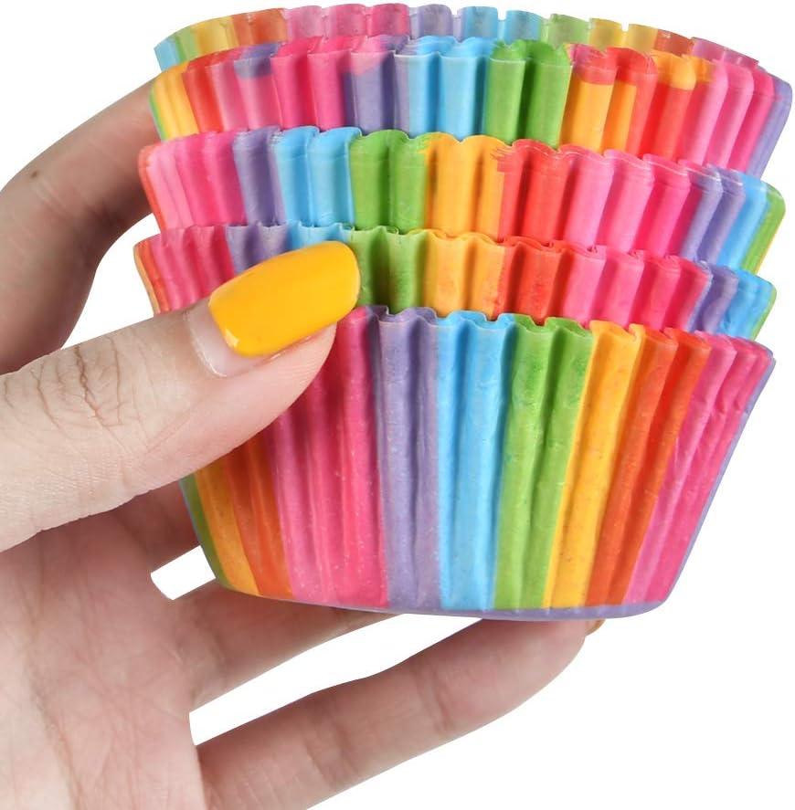 FOROREH 200pz Pirottini per cupcake Involucri di carta per arcobaleno Fodere per muffin Per dessert Matrimonio Festa di compleanno