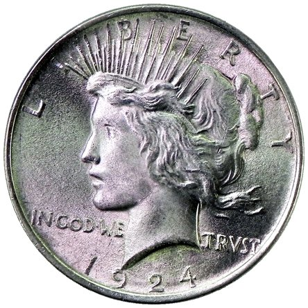 1924 S Peace Silver Dollar Uncirculated Rare MS/BU Semi-Key Date US Coin $1