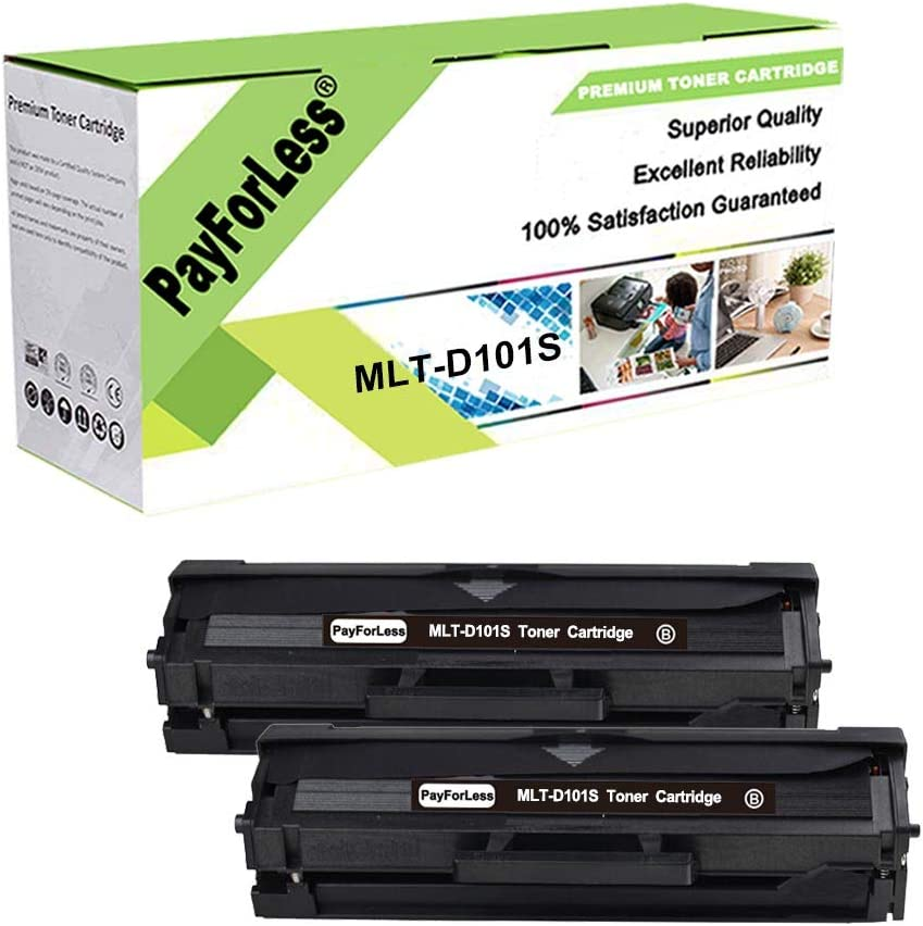 SuperInk 2 PK Black Toner Cartridge Replacement Compatible for Samsung MLT-D101S MLTD101S to use with SCX-3405W ML-2165W SCX-3405FW ML-2161 ML-2166W ML-2160 ML-2165 SCX-3400F SCX-3401FH