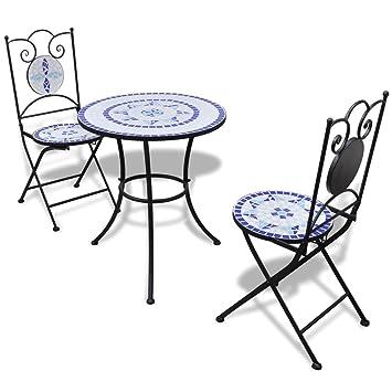 Bistrotisch Mit Stühlen Outdoor.Anself Tischgruppe Tischgruppe Mosaiktisch Bistrotisch Mit 2 Stühlen Blau Und Weiß