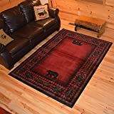 1 Piece 5'3 x 7'3 Red Black Southwest Animal Print Area Rug, Rustic Southwestern Lodge Cabin Cottage Style Theme Leaf Carpet Canoe Branches Nature Forest Woods Hunting Bear Trees Pattern Polypropylene