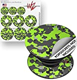 Decal Style Vinyl Skin Wrap 3 Pack for PopSockets WraptorCamo Old School Camouflage Camo Lime Green (POPSOCKET NOT INCLUDED) by WraptorSkinz