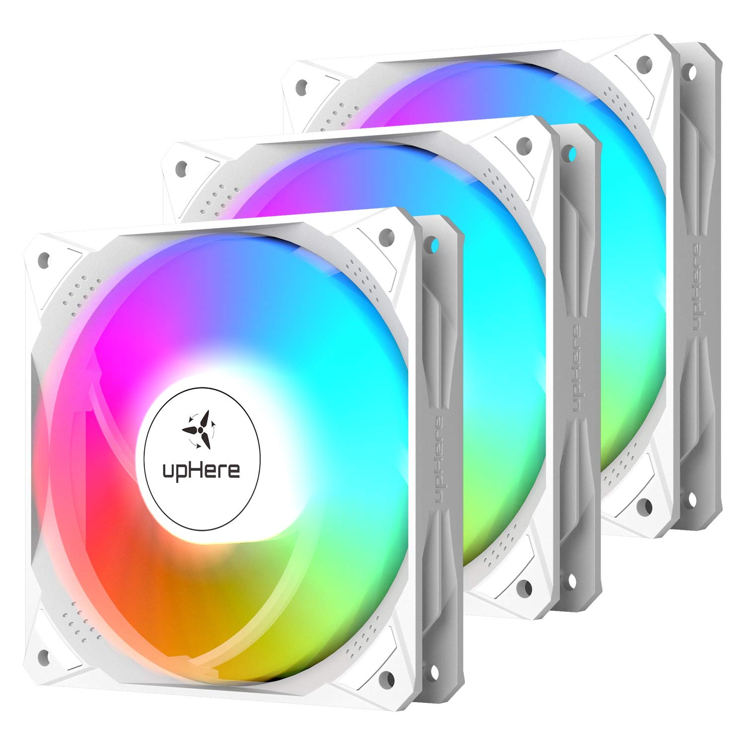 upHere 120mm White Case Fan High Airflow Rainbow LED for Computer Cases Cooling,3-Pack,NT12CF3