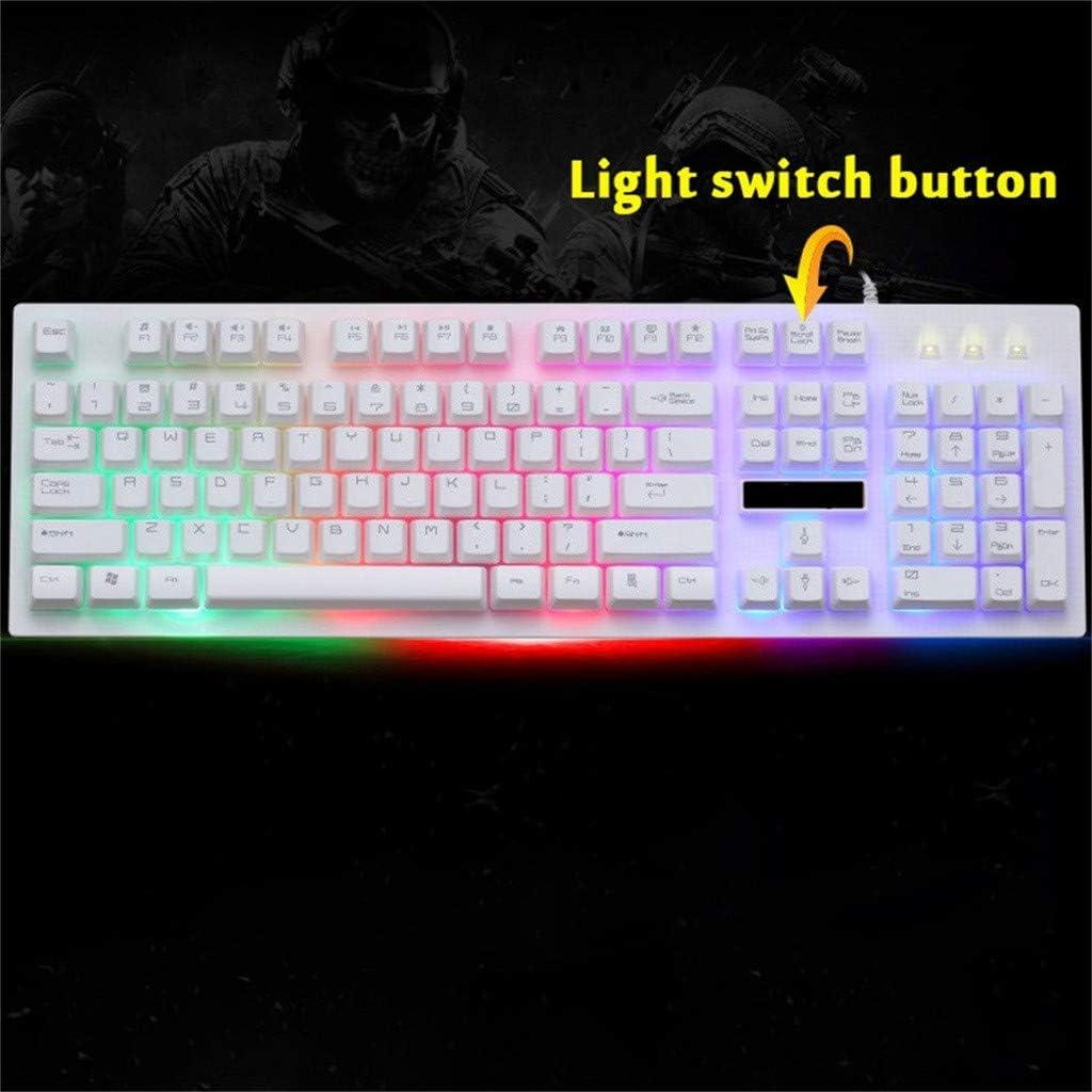 Black Bosji Gaming Keyboard G20 LED Rainbow Color Game USB Wired RGB Mechanical Backlight Gaming Keyboard for PC Computer Games /& Work