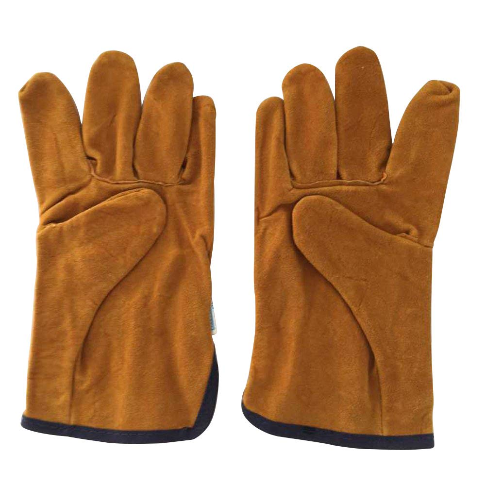 QEES Leather Men's Welding Gloves Thicken Extreme Heat Resistant Work Gloves Camping/Barbecuing/Gardening Gloves For Cooking/Baking/Mitts DHST03 Zhuolang