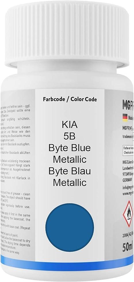 Mg Prime Autolack Lackstift Set Für Kia 5b Byte Blue Metallic Byte Blau Metallic Basislack Klarlack Je 50ml Auto