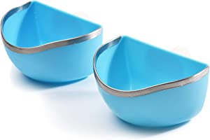 CalPalmy Food and Water Bowl (2-Pack) for Rabbit/Guinea Pig/Chinchilla - Best Bowl to Prevent Knocking Over, Made from Non-Toxic, BPA Free Plastic and Minimizing Waste and Mess
