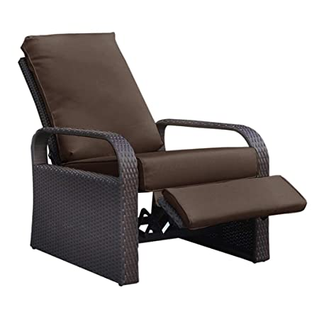 Outdoor Wicker Recliner, Patio Recliner Adjustable Chair with 5.11 Cushions and Ottoman, UV Rust Weather Resistant Aluminum Frame Hand Woven, Brown Color
