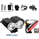 Bike Headlight & Rear Tail Light Set - X3 3 LED Rechargeable Waterproof Bike Light 6600LM Super bright Taillight Headlamp for MTB Road Bicycle,Helmets,Backpack(8800mAh Battery Include)