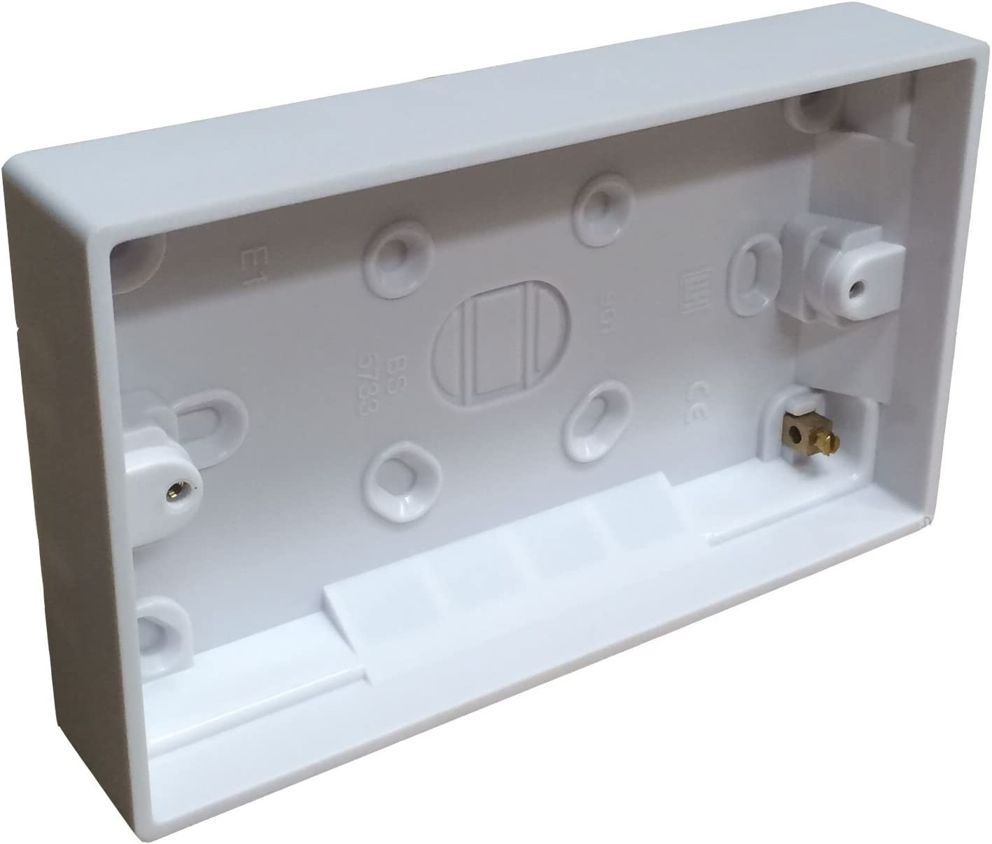 Plastique Double 2 Gang Surface Mounted Pattress Back Box 45 mm-Blanc