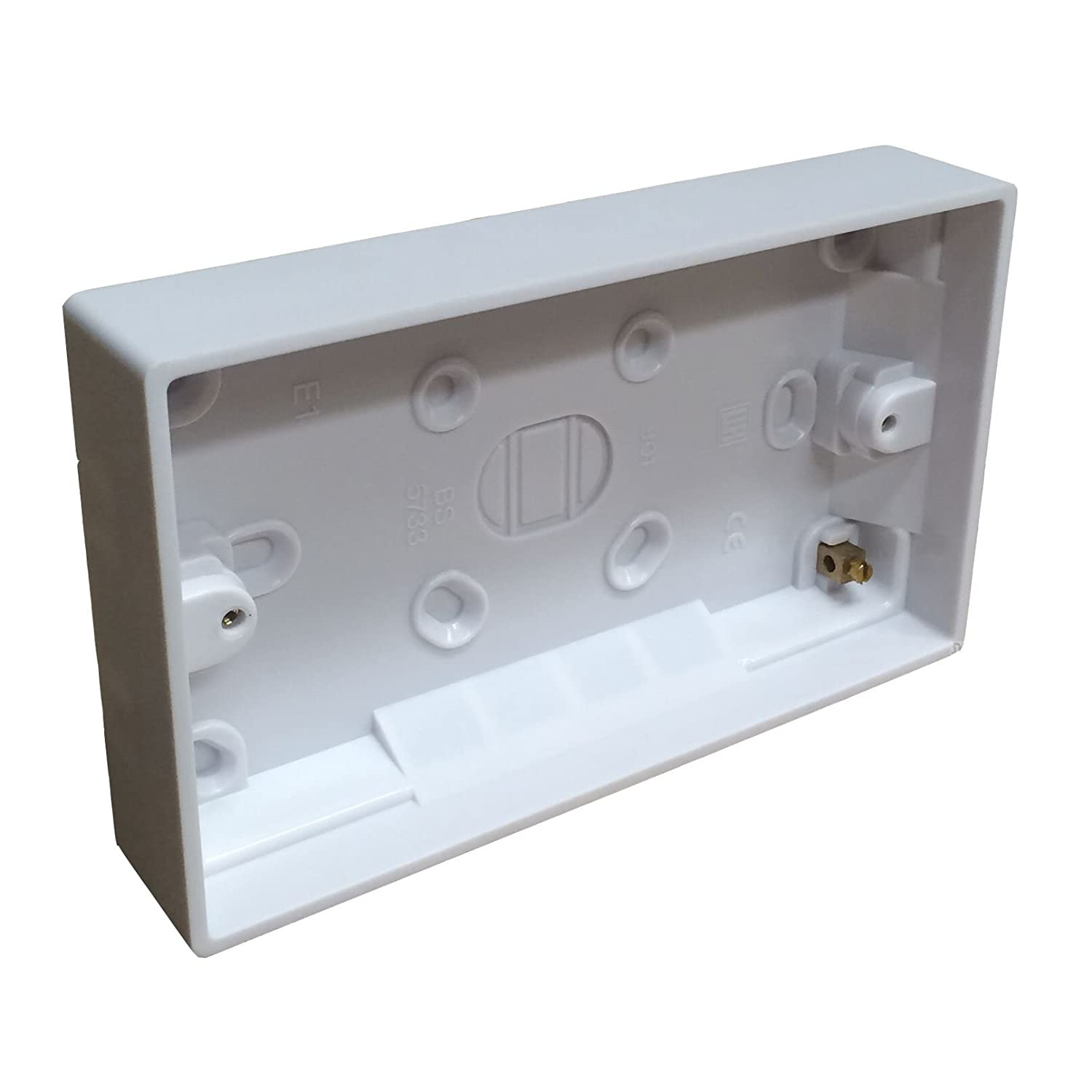 Surface Mounted Back Box 25mm Wall Pattress Double 2 Gang