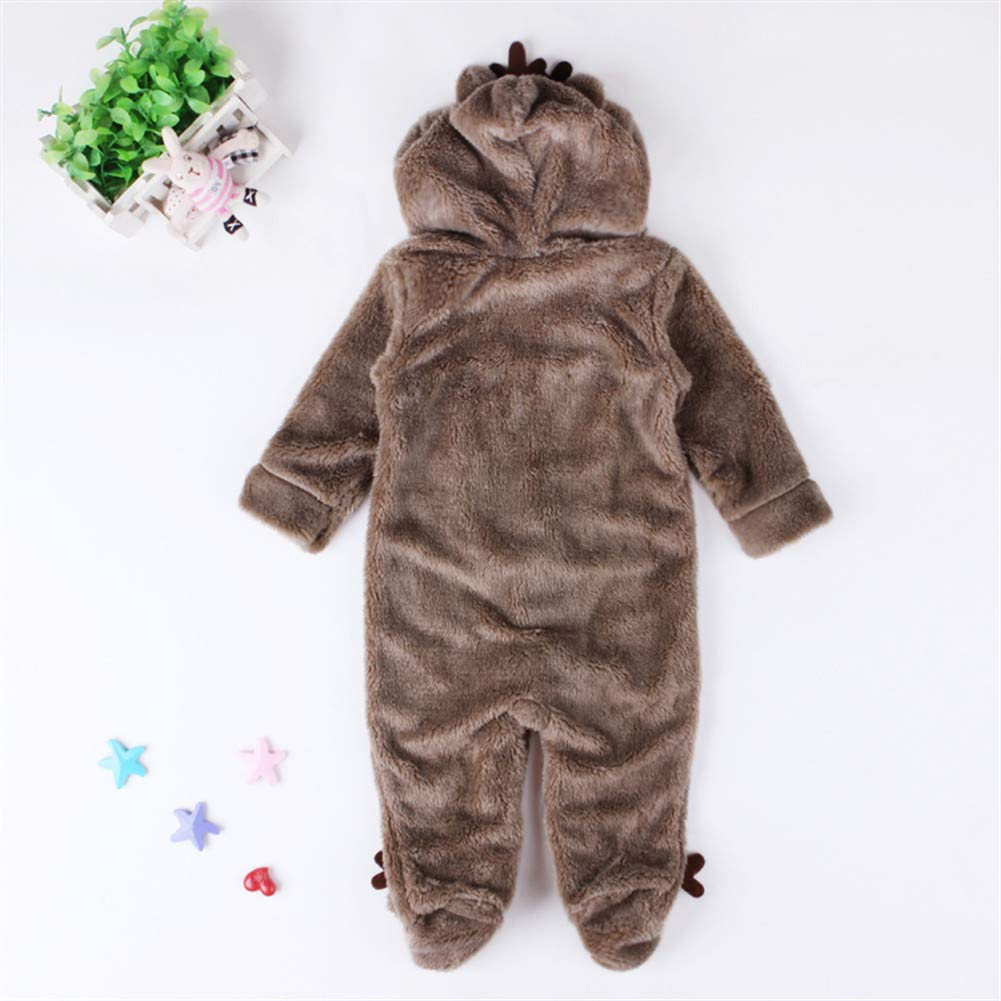 Christmas Romper Plush Jumpsuit Reindeer Snowsuit Long Sleeve for Unisex Baby Infant Boy or Girl