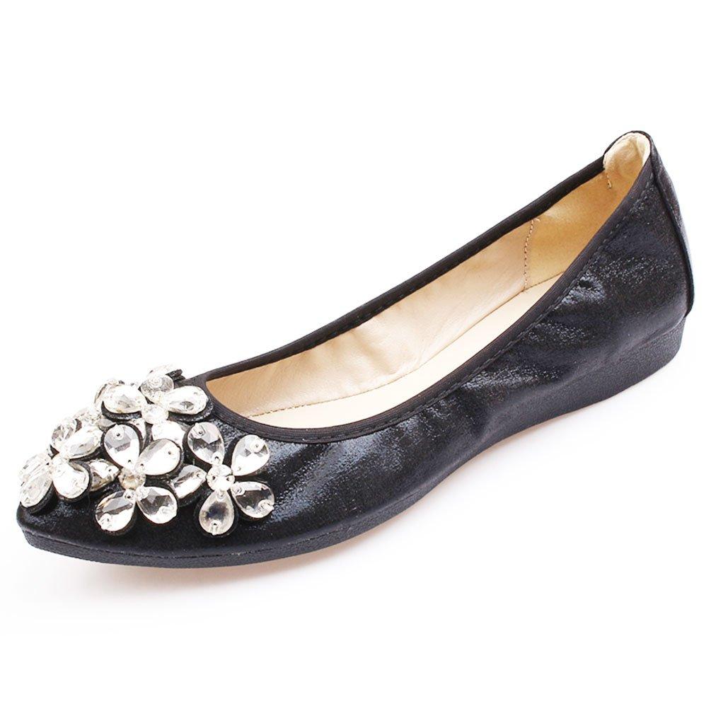 Women's Flats Rhinestone Decorative Comfort Slip ONS (7 US/38 EUR, Black) Arch Beauty Charm Comfort Shoes Glow Jewelry Loafers Modern New Look gem Jewelry Ballet Flats