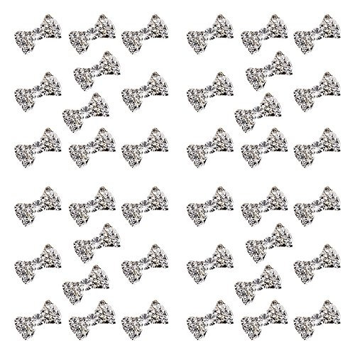 Polytree 50pcs Women's 3d Special Charming Clear Rhinestone Alloy Bow Tie Nail Art Slices DIY Decorations -