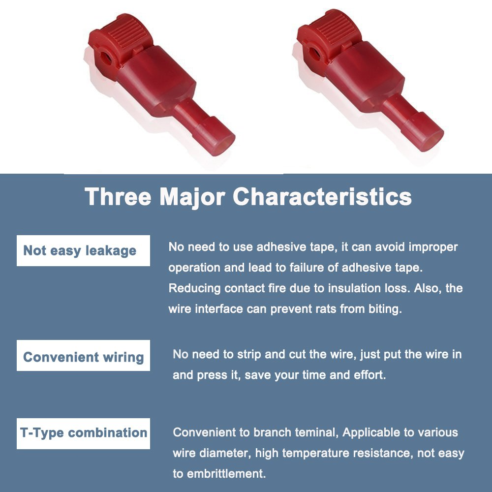 Amazon.com: Bestgle Self-Stripping Electrical Red T-Tap Wire Spade ...